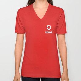 third. Logo - White Unisex V-Neck