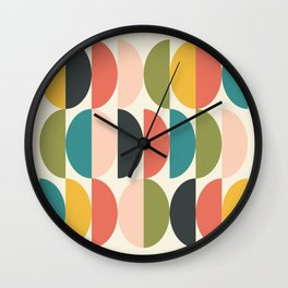 Geometric Shape Patterns in Retro Colorful themed (Moon Phase Abstract) Wall Clock