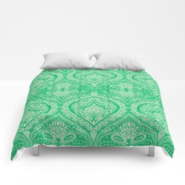 Simple Ogee Green Comforters
