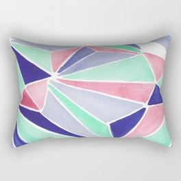 Watercolor colorful mint triangles. Watercolor geometry 3D effect. Rectangular Pillow