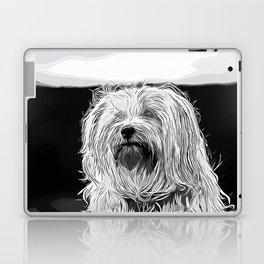 hairy havanese dog vector art black white Laptop & iPad Skin