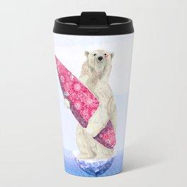 Polar bear & Surf (pink) Travel Mug