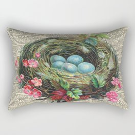 Bird Nest on Dictionary Page Rectangular Pillow