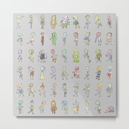 Zombie Characters Collection Metal Print