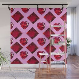 RUBY JEWELED  VALENTINE RUBY HEARTS  DESIGN Wall Mural
