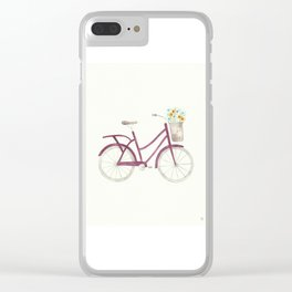 Purple Bicycle with Flower Basket Watercolor Clear iPhone Case