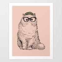 persian Art Prints featuring Hipster Persian Cat by Huebucket