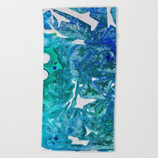 Sea Leaves, Environmental Love of the Ocean Blue Beach Towel