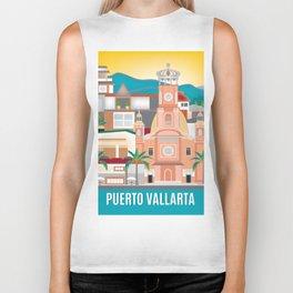 Puerto Vallarta, Mexico - Skyline Illustration by Loose Petals Biker Tank