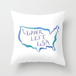Upper Left, USA - Cool Hues Throw Pillow