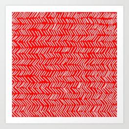 Scarlet Herringbone Lines Art Print