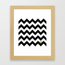 Heart & Chevron - Black/Green Framed Art Print