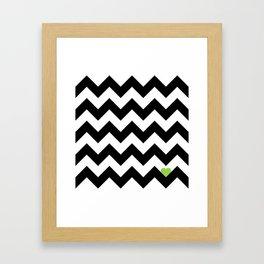 Heart & Chevron - Black/Green Framed Art Print
