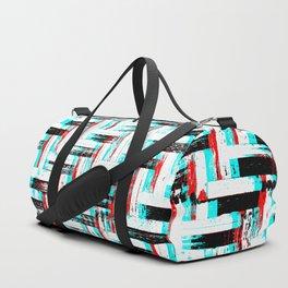 Geometric Glitch Parquet Pattern Duffle Bag