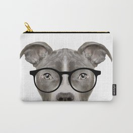 Pit bull with glasses Dog illustration original painting print Carry-All Pouch