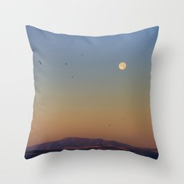 Swallows and Moon sunset. Sierras de Tejeda, Almijara and Alhama Natural Park. Throw Pillow