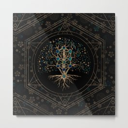 Kabbalah The Tree of Life Marble and Gold Metal Print