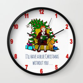 A Blue Christmas Wall Clock