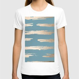 Abstract Painted Stripes Gold Tropical Ocean Blue T-shirt