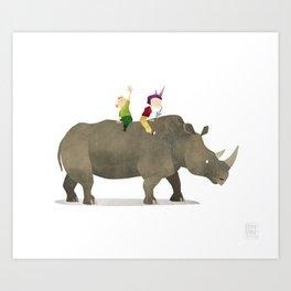 Wild Adventure - Rhino Art Print