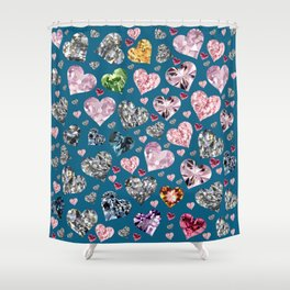 Heart Diamonds are Forever Love Blue Shower Curtain