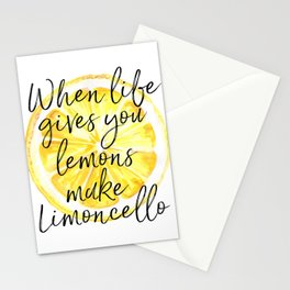 When Life Gives You Lemons Make Limoncello, Art Quote, Kitchen Art, Bar Print Stationery Cards