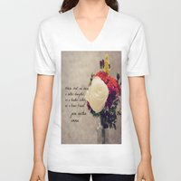 jane austen V-neck T-shirts featuring Jane Austen Daughter Emma by KimberosePhotography