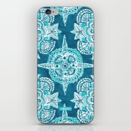 INNER MERMAID COMPASS Blue Nautical Mandala iPhone Skin