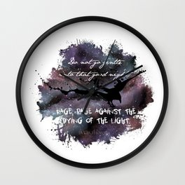 """Do not go gentle into that good night"" by Dylan Thomas Wall Clock"