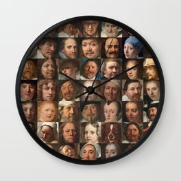 Faces of the Golden Age - Collage of portraits of Dutchmen Wall Clock