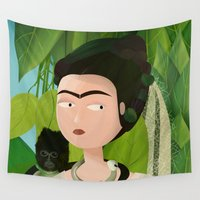 frida Wall Tapestries featuring Frida by Mister Linus