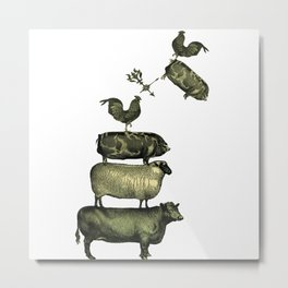 Farm Living - Stacked Animals Metal Print