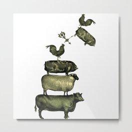 Farm Living - Stacked Animals Metal Print