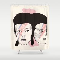 bowie Shower Curtains featuring Bowie by NikkiMaths