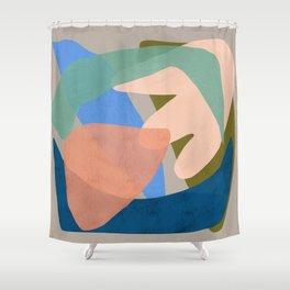 Shapes and Layers no.30 - Large Organic Shapes Blue Pink Green Gray Shower Curtain
