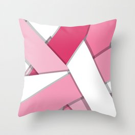 Flat Abstract Modern Design Vector Pattern breast cancer awareness  Throw Pillow