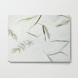 Delicate grass embedded into Japanese paper Metal Print