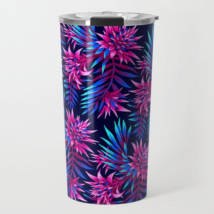 Aechmea Fasciata - Dark Blue/Pink Travel Mug