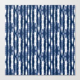 Shibori Stripes Indigo Blue Canvas Print
