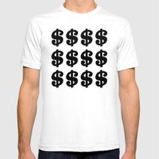 Black Dollars White Mens Fitted Tee SMALL
