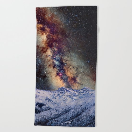 Sagitario, Scorpio and the star Antares over the hight mountains Beach Towel