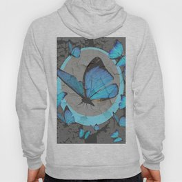 SHABBY CHIC  NEON BLUE BUTTERFLIES  & CHARCOAL GREY  N MOD Hoody