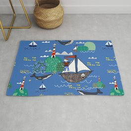 Pirates Ahoy Blue Rug
