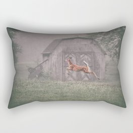 Leaping deer in front of barn with foggy background Rectangular Pillow