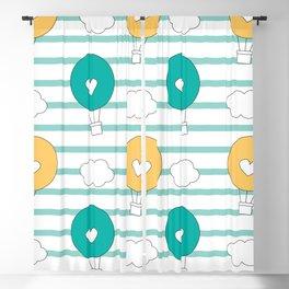 cute lovely cartoon hot air balloons pattern illustration Blackout Curtain