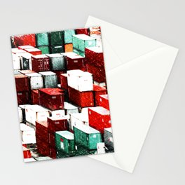 Mint Red Shipping Containers  Stationery Cards