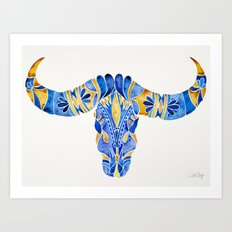 Water Buffalo Skull – Navy & Yellow Art Print
