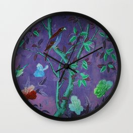 Aubergine & Teal Chinoiserie Wall Clock