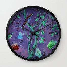 Aubergine & Teal Chinoiserie Wall Clock