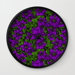 Purple Clematis vine Wall Clock